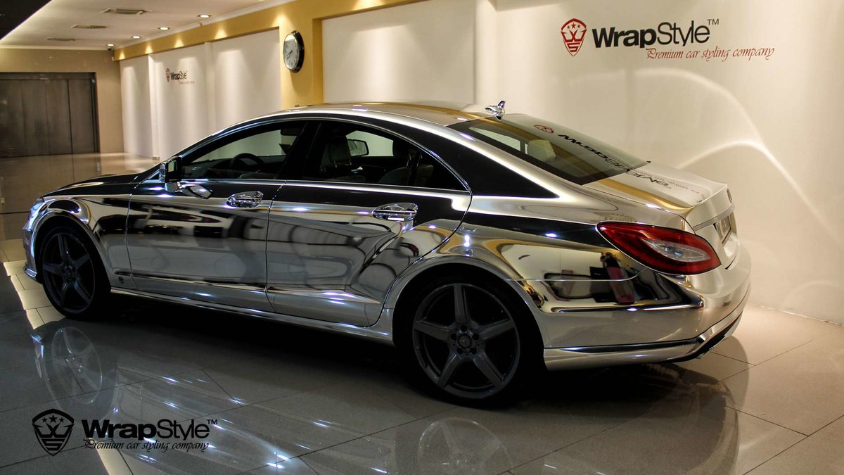 Mercedes CLS - Silver Chrome wrap - cover