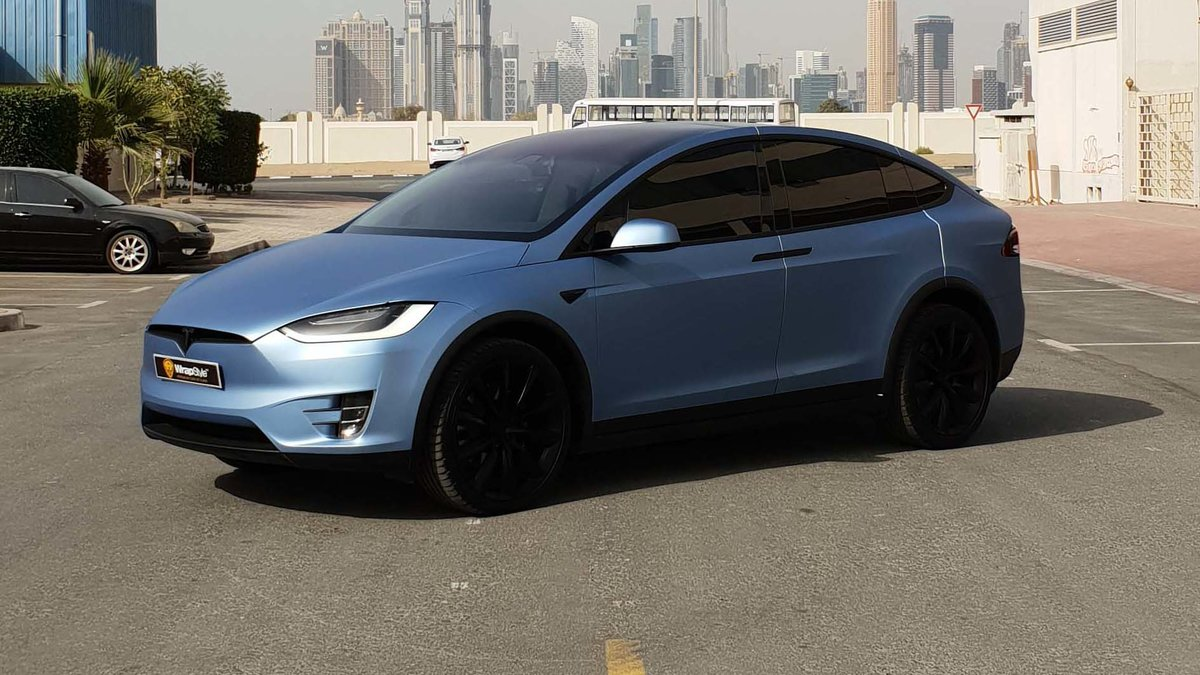 Tesla Model X - Blue Matt wrap - img 1