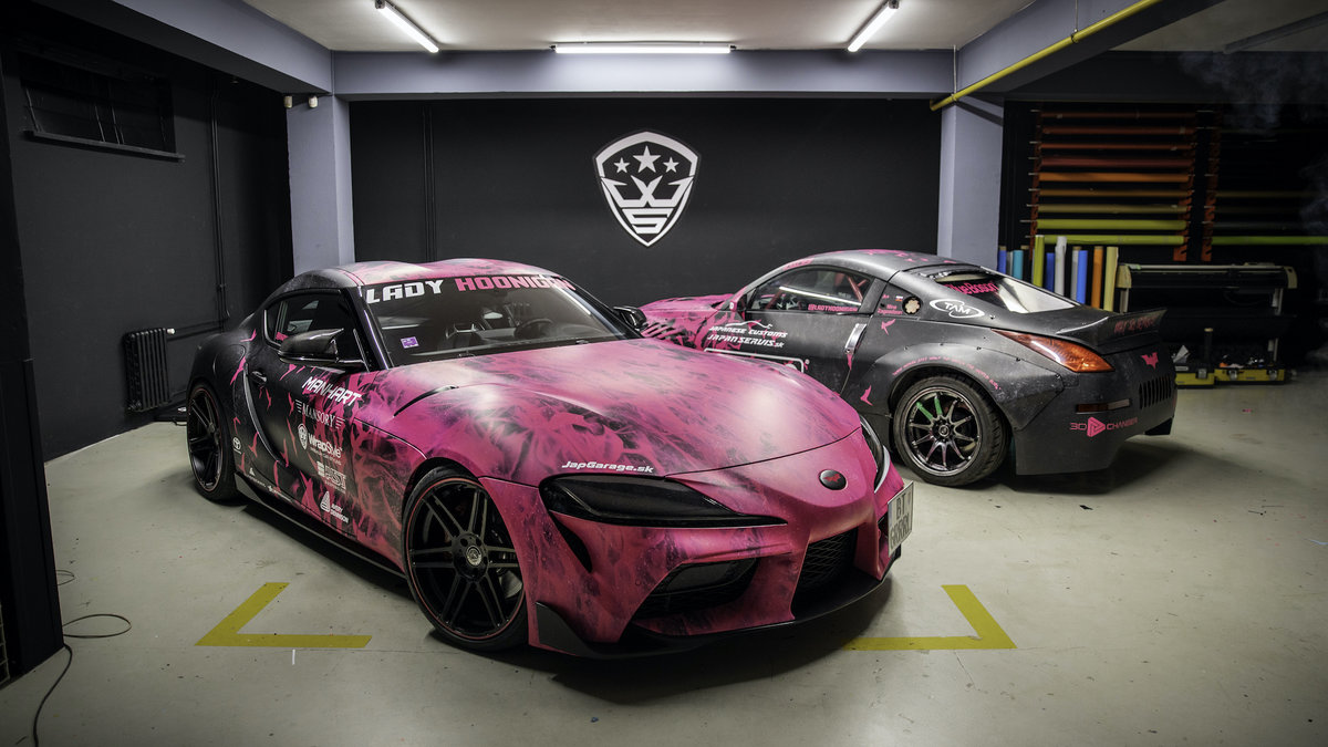 Toyota Supra and Nissan 350z - Lady Hoonigan WrapStock Bat Girl Design - cover