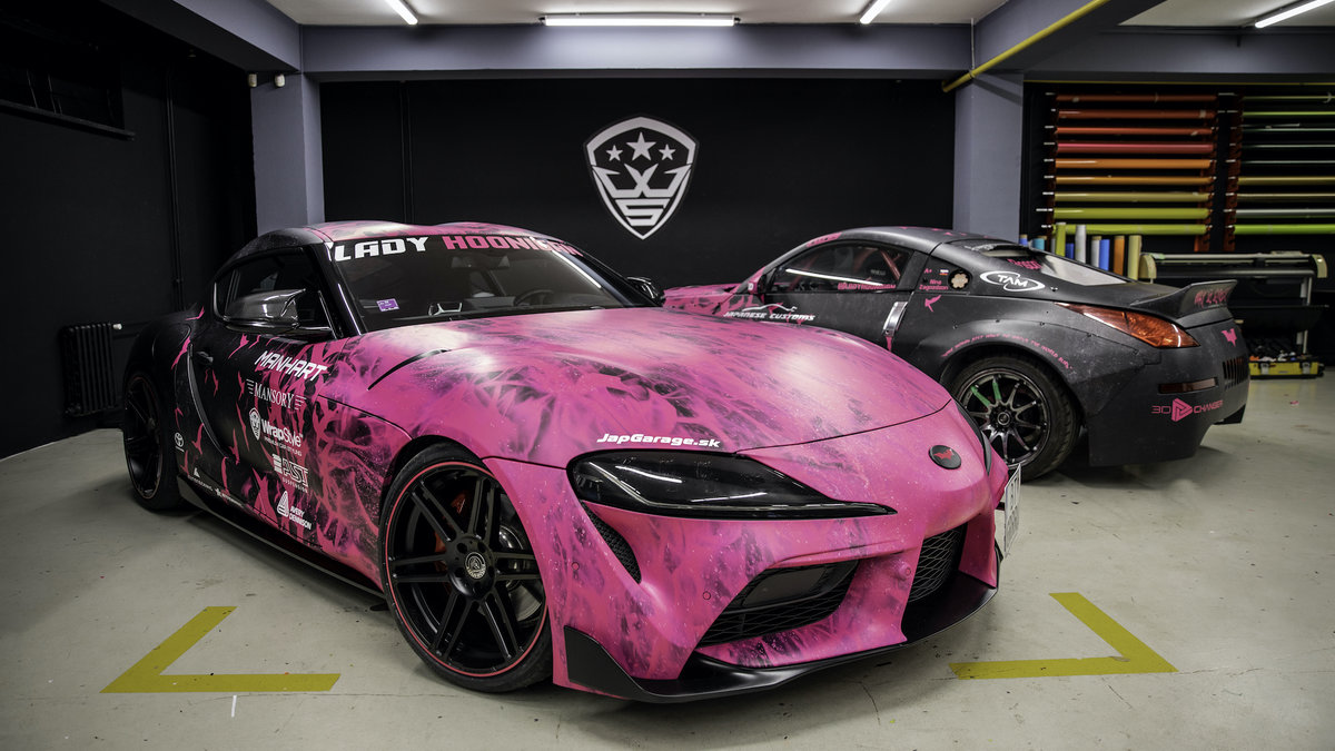 Toyota Supra and Nissan 350z - Lady Hoonigan WrapStock Bat Girl Design - img 3