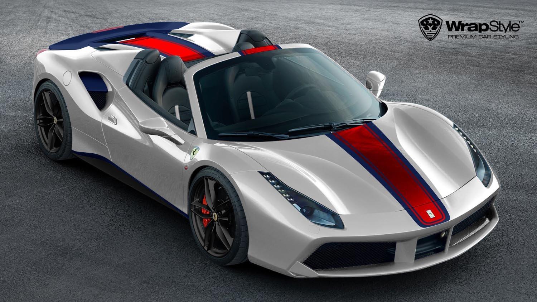 Ferrari 488 Spider Red Stripe Design Wrapstyle