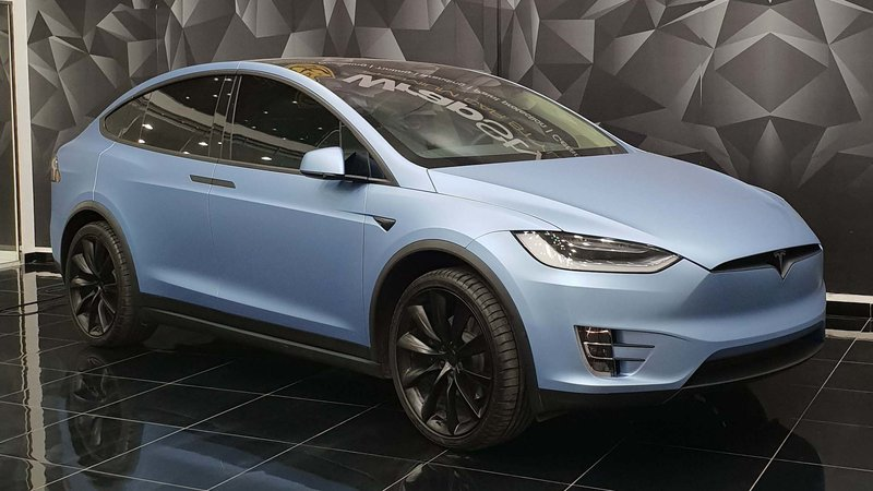Tesla Model X - Blue Matt wrap - cover small