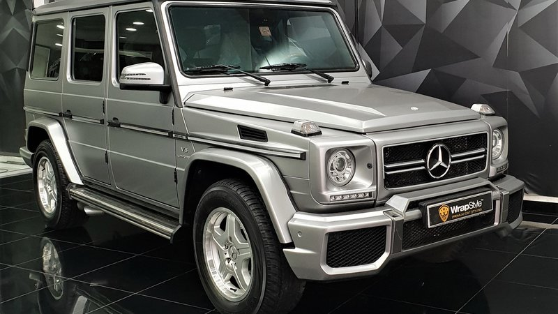 Mercedes G - Silver Satin wrap - cover small