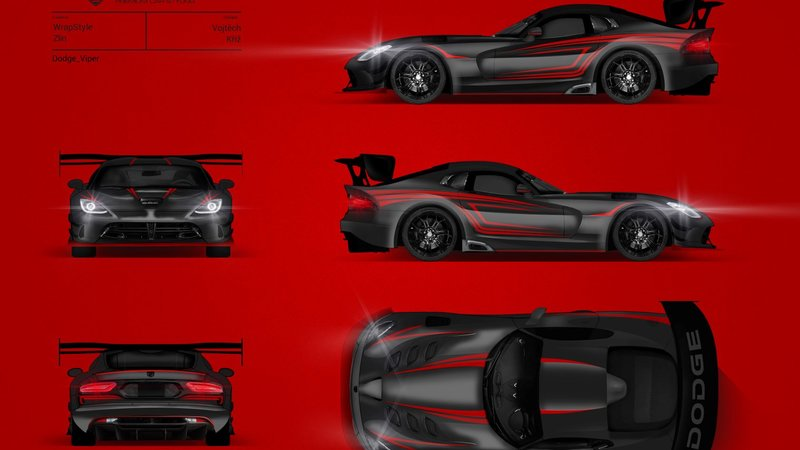 Dodge Viper - Stripes  Red Qatar design