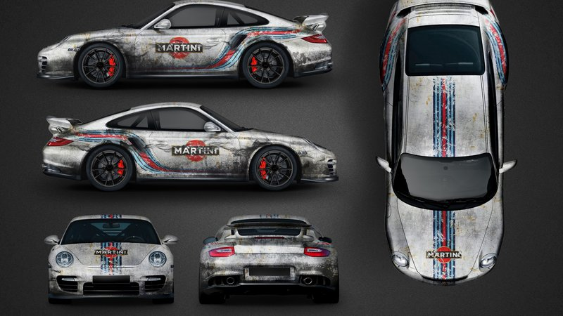Porsche 997 GT2 - Martini Rusty design